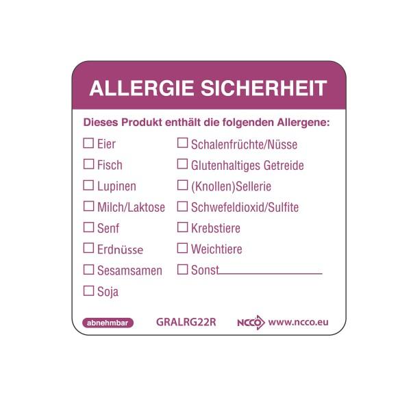 Allergie-Etiketten -ablösbar- 500 Stück