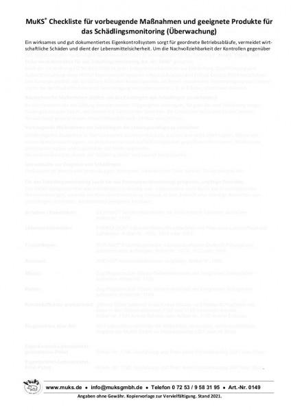 Checkliste für vorbeugende Maßnahmen und geeignete Produkte des Schädlingsmonitorings