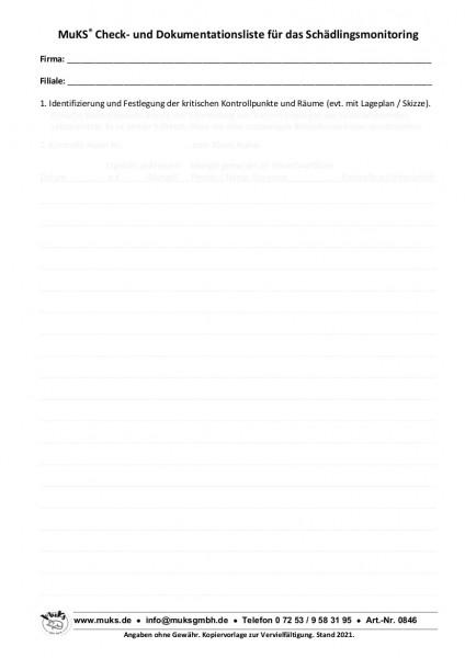 Check- und Dokumentationsliste für das Schädlingsmonitoring